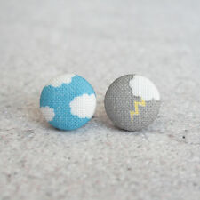 Blue Sky and Lightning Fabric Button Earrings