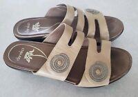Dansko Leather Wedge Sandles Womens 10.5/11 US 41 EUR Brown Tan EUC