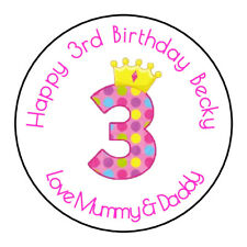 Girls 3rd Birthday Personalised Thank You Sticker Party Sweet Cone Age, Pink