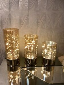 QVC Bundleberry By Amanda Holden Set 3 Wire LED Light Cylinders With Timer Gold