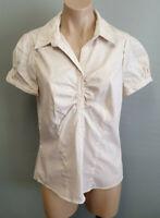 BNWT Ladies Sz 12 Smart Tan and White Stripe Short Sleeve Stretch Gathered Shirt