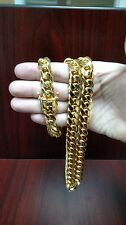 "32"" 14k Gold Plated Silver Miami Cuban Link Chain, 13 mm 282 grams"
