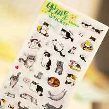 6 sheets/lot PVC Paper Stickers Cat For Kids Toys Gift Scrapbooking  US