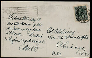 Canada Admiral 1912 Postcard: Vancouver BC -Slogan V40 on Left. CDS right- ph177