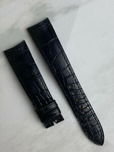 Jaeger LeCoultre Black Crocodile Leather Watch Strap Band Replacement OEM 19mm