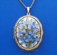 Porcelain LILY of the VALLEY & BLUE FORGET ME NOTS CAMEO Locket Pendant Necklace