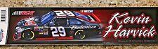 "KEVIN HARVICK #29 BUDWEISER RCR NASCAR BUMPER STICKER 3"" X 12"" LONG"