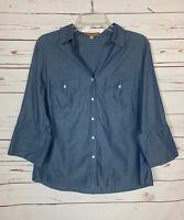 Ellen Tracy Women's L Large Blue 3/4 Sleeves Button 100% Cotton Top Blouse Shirt
