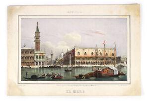 """Marco Moro Engraving Art - Venice Venezia, Italy """"IL MOLO"""" Antique 1840s-50s"""