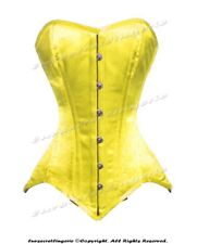 26 Double Steel Boned Waist Training Yellow Satin Overbust Shaper Corset 8851-SA