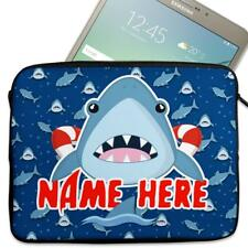 """Personalised Tablet Cover FUNNY SHARK Neoprene Sleeve Case Boys 7"""" - 10"""" KS117"""