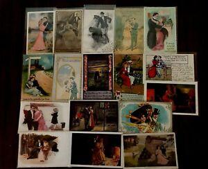 Lot of 17~ Men & Women~Romantic Artist Drawn~Romance Antique~Postcards-k324