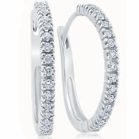 "1/2 ct Diamond Hoops White Gold 1"" Tall Womens Earrings"