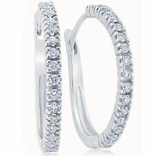 "1/2 ct Diamond Hoops White Gold 1"" Tall Womens Earrings"