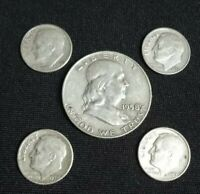 Lot - 5 US Silver Coins Franklin Half Dollar Roosevelt Dime 90% Bullion Invest 1