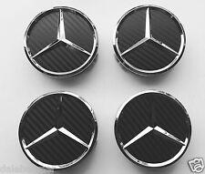 4x Mercedes-Benz AMG Schwarz carbon Emblem Felgendeckel Radkappen Nabendeckel