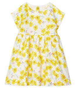PETIT BATEAU Kleid Leinen Leinekleid gelb Blumen Flügelärmel Gr. 12 - 24 Monate