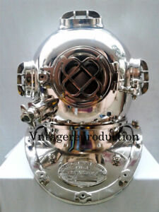 Nickel Finish 18 Inch Diving Helmet US Navy Mark Iv Deep Sea Helmet Replica Gift
