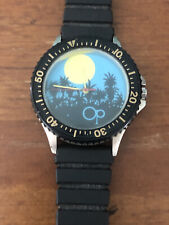 Vintage Ocean Pacific OP Surf Mens retro hip Dive Watch Scuba wind up 1980's  LT