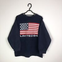 Vintage Limited 94 American USA Flag y2k 90s Jumper Sweatshirt Blue - Small