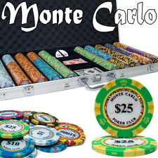 New 750 Monte Carlo 14g Clay Poker Chips Set with Aluminum Case - Pick Chips!