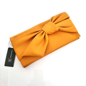 """New INC Yellow Gold Tone Chain Bow Faux Leather Clutch 11.25"""" W 5.75"""" H 0.75"""" D"""