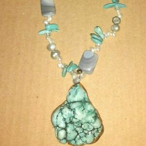 Turquoise Colored Beaded Necklace (PB)