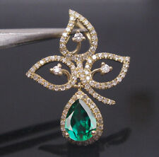 1.80Ct Natural Green Emerald EGL Certified Diamond Pendant In 14KT Yellow Gold