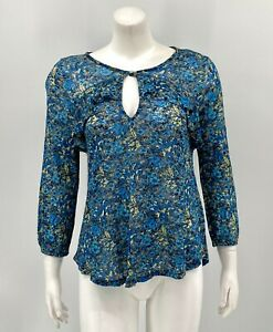 Lucky Brand Womens Floral Ruffle Popover Top XS Blue Sheer 3/4 Sleeves Keyhole