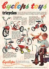c.1950's CYCLOPS TOYS TRICYCLES VINTAGE AUSTRALIAN ADVERTISEMENT A3 PRINT