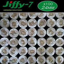 More details for 100 x 24mm jiffy 7 peat pellets plugs seeds cuttings grow pot hydroponic uk