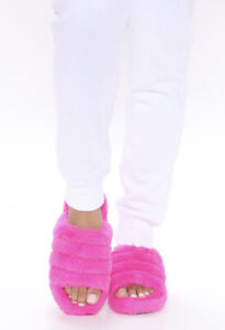 Fashion Nova Cozy Mood Slippers - Color: Hot Pink - Size: Women's 10US *New*