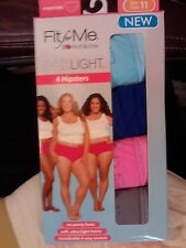 FRUIT OF THE LOOM~FIT FOR ME~EVERLIGHT HIPSTERS~LADIES NYLON PANTIES~SZ 10~4 PAK