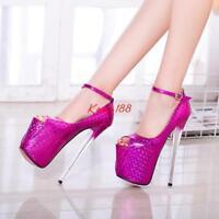 Sexy Women Super High Heel Stiletto Peep Toe Platform Strappy Nightclub Shoe N13