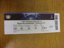 19/10/2011 Ticket: Bayer Leverkusen V Valencia [Champions League] (gefaltet). als