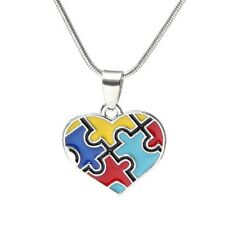 Autism Awareness Necklace Heart Bright Puzzle Piece Pendant Charms Jewellery UK