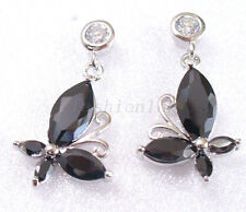 Black CZ Cubic zircon White Gold Plated Birthday Xmas Butterfly Dangle Earrings