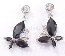 Women's Butterfly Dangle Earrings Black Simulated Diamond White Gold Plated UK