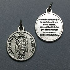 Archangel Gabriel Protection Medal Pendant with Prayer Catholic Silver Tone 3/4""