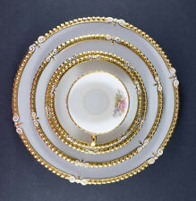 VTG Aynsley 7 Pc Place Setting Grey & Pink Rose 7913 Signed G. Bentley Gold Trim