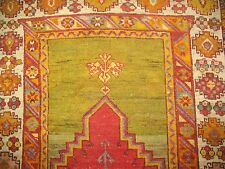 Antique Gorgeous Turkish Ghiordes Melas Oushak Ushak Prayer Rug Size 3'5''x4'10'