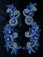 LR20-3 MIRROR PAIR FLORAL Sequin Beaded Applique Motif Royal Blue Belly Dance