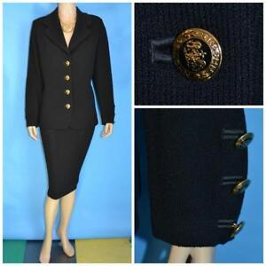 ST JOHN Basics KNITS Black Jacket L 10 12 Suit Blazer Crest Logo Buttons