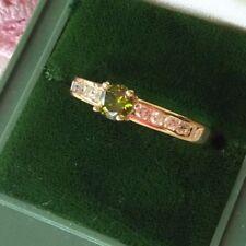 Antique Art Deco Vintage Gold Ring Peridot Green Sapphire White stones size L