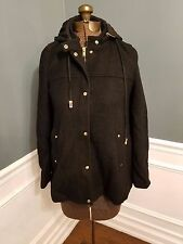 ZARA BASIC womens black hooded jacket coat size S 50% wool SISLOU B05