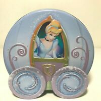 "Disney CINDERELLA  Coach/ Carriage Tin Bank with Moving Wheels Blue 5"" T x 5"" W"