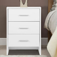 Bedside Cabinet Table White Nightstand Chest of 3 Drawers Home Bedroom Storage