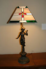 Antique Art Nouveau Lady Goddess Figure Metal Table Lamp w/ Colored Lead Glass