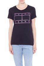 TOMMY JEANS - Women's black tee with metallic flag