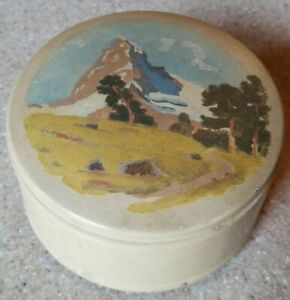 Vintage Sainte Croix Reuge Swiss Lucky Day Hand Painted Music Trinket Box